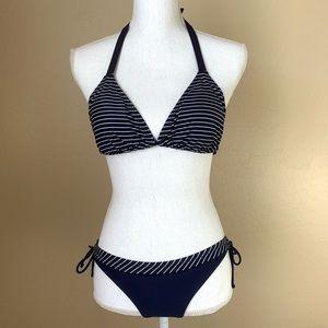 Gap Bikini Striped Navy & White Halter Tie Swim